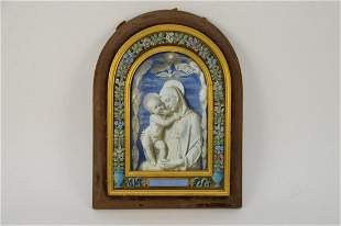 Antique Enameled Plaque In the Manner of Della Robbia