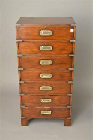 """7 Drawer Campaign Style Chest, 45""""h x 22""""w x 14 1/2""""d"""