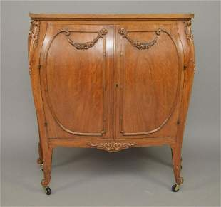 Mahogany 2 door Bombay Cabinet with Carved Floral