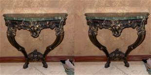 Pair Italian Consoles with green marble tops, Gilding