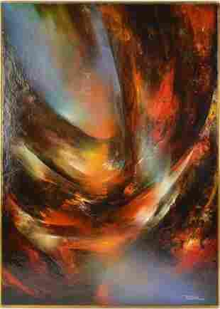 Leonardo Nierman (MEXICAN, 1932) oil on Masonite board,