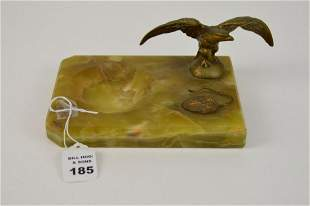 Yellow Onyx Desk Stand with Figural Bronze Eagle - 3