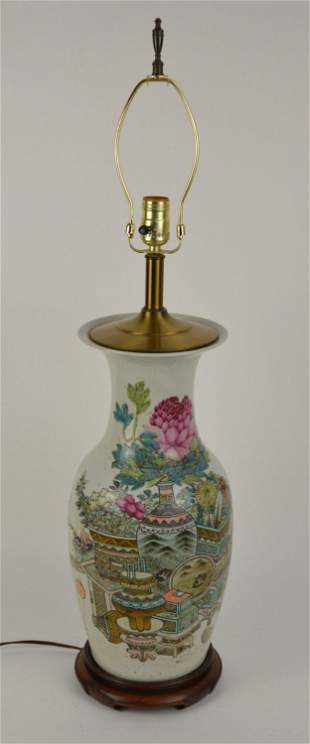 Chinese Famille Rose Porcelain Vase now Electrified as