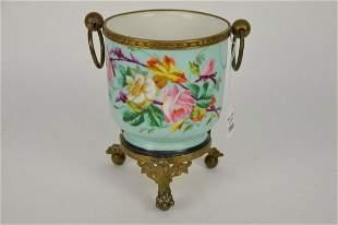 Old Paris Porcelain and Bronze Cache Pot - Porcelain