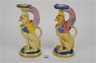 Pair Italian Porcelain Figural Griffin Candlesticks -