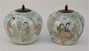 Pair of Chinese Porcelain Ginger Jars - Each having