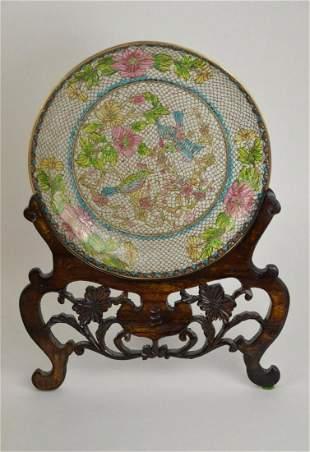 Chinese Plique-a-Jour Clear Enamel Cloisonne Plate -