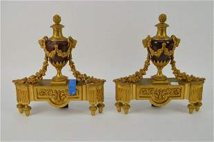 """Pair Gilt Bronze & Red Marble Chenets, 15""""h (one marble"""