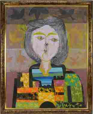Peter Paone (NY Born 1936) oil on canvas, Abstract Lady