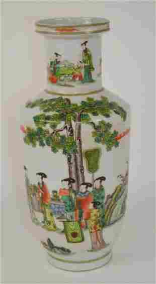 Large Chinese Porcelain Rouleau Vase - Porcelain vase