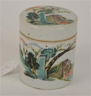 Chinese Cylindrical Porcelain Box- Lidded box