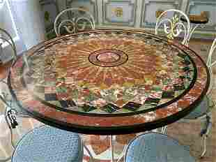 Iron Table With Pietra Dura Top & Six Iron Chairs.
