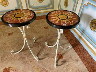 Pair Iron Tables With Pietra Dura Tops. Condition: no