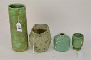 4PCS Vintage Art Pottery - Includes: green cylindrical