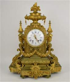 Large 19th Century French Gilt Bronze Clock.  The
