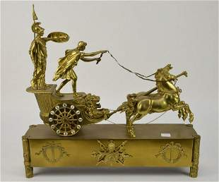 19th Century Figural Bronze Chariot Clock. The face
