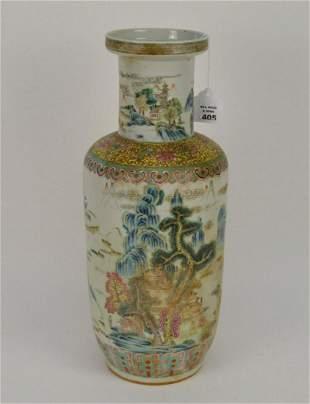Chinese Famille Rose Porcelain Vase - enamel and