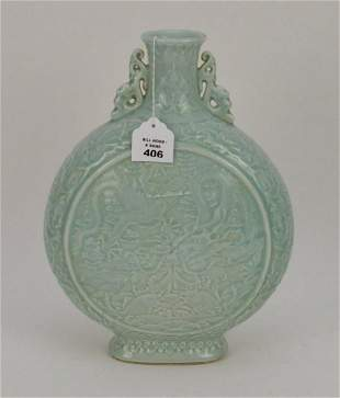 Chinese Celadon Porcelain Mook Flask Vase with High