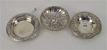 """3 Kirk & Son Sterling Bowls, Footed Bowl (5 3/4""""dia),"""