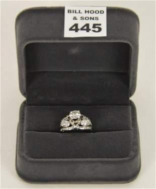 14K White Gold & Diamond Ladies Diamond Ring. Total