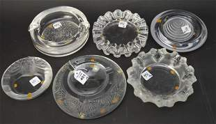 6 Clear Crystal Ashtrays Lalique Daum Colle - French