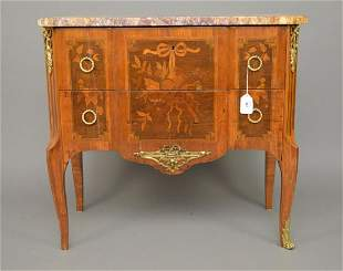 2 drawer 19th C. French Inlay Chest with conforming
