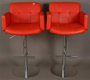 2 Modern Red Leather & Chrome Adjustable Bar Chairs