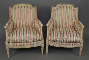 Pair Italian Painted Armchairs, Pink Stripe Upholstery