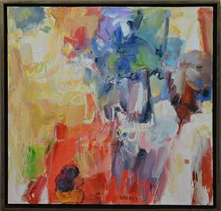 Contemporary Abstract Painting on Canvas, signed Worm,