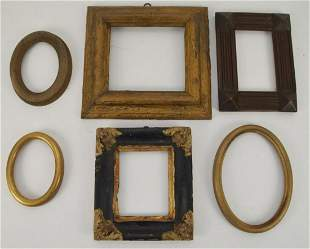 Lot of 6 Antique European Wood Frames. 18th and 19th