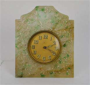 Chinese Carved Jade Desk Clock. Condition: the piece