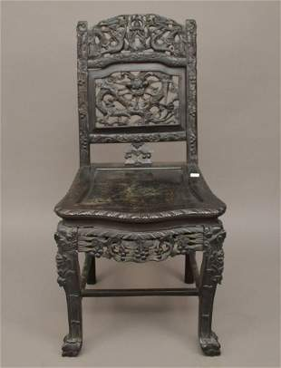 Antique Chinese Carved Wood Chair. Condition: