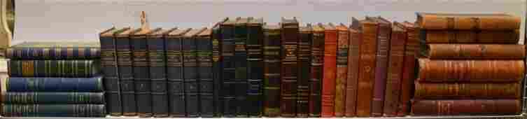 LEATHER BOUND BOOKS, Approx. 33 Books, 19th c./early