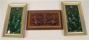 Three Framed Glazed Ceramic Tiles - Two Green glazed 14