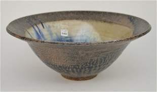 Large Glazed Art Pottery Bowl - Coarse terracotta
