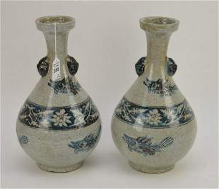 Pair of Chinese Ming-Style Red & Blue Underglaze Vases