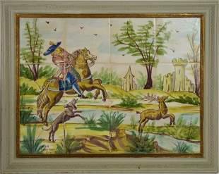12 Framed Italian Tiles, Rural Landscape Scene, signed