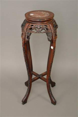 Chinese Carved Wood & Soapstone Plant Stand - carved
