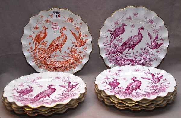 1: 11 Royal Crown Derby plates with scalloped edges, pe