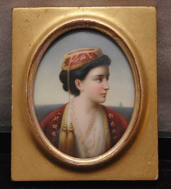 """5: Oval miniature painting on porcelain, 2-1/2"""" x 3"""""""