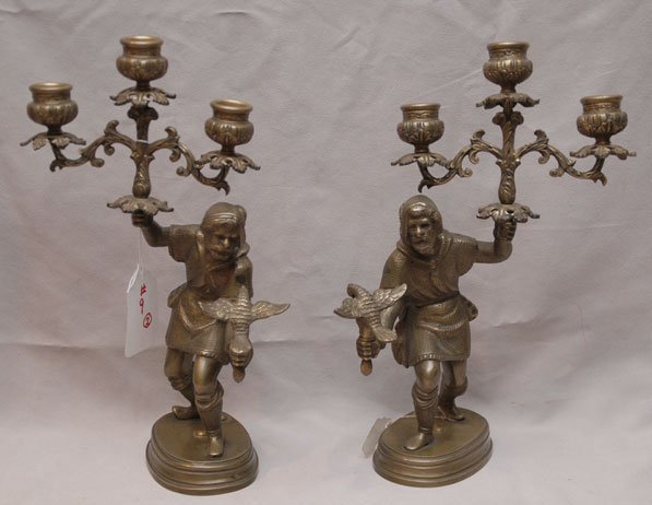 9: Pair of 19th Century bronze figural falcon trainers