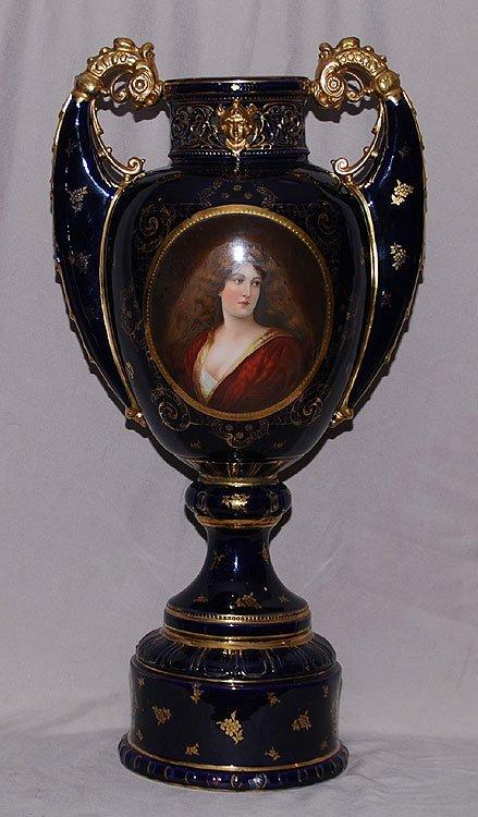 11: Royal Vienna portrait Urn, ca 1900