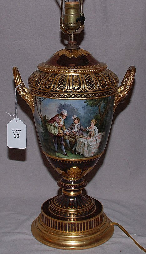12: Porcelain urn shape handpainted lamp, signed by Wag