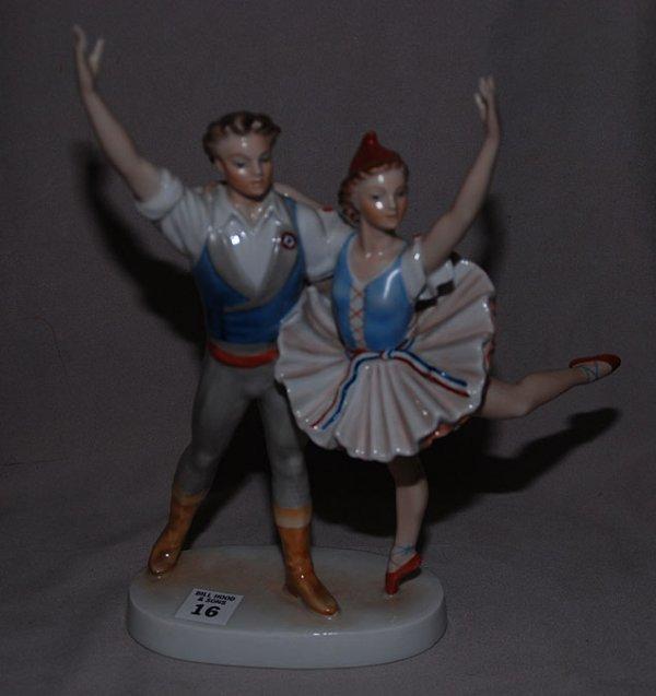 "16: Herend porcelain figurine, 2 dancers , 11""h x 9""L"