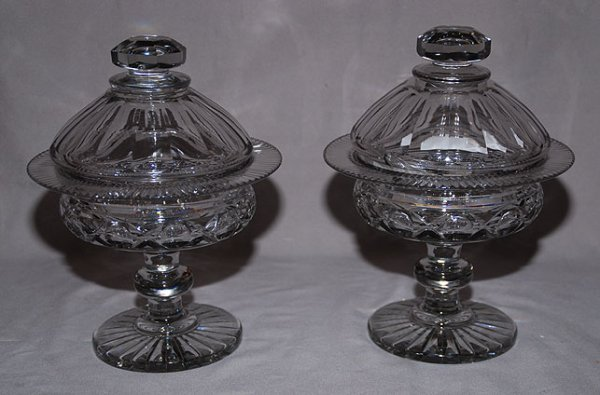 19: Pair of covered glass compotes, probably Irish and