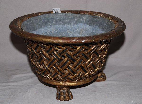 20: Gilded wood planter in basket weaved design on  3 p