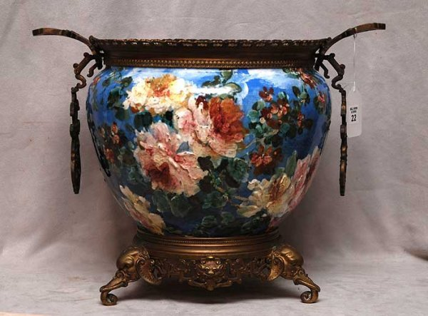 22: Hand painted floral ceramic planter with bronze