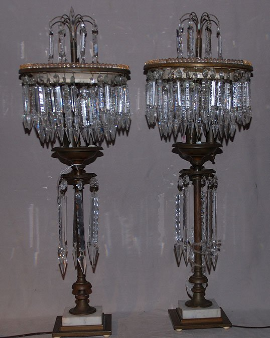 24: Pair of banquet lamps with 2 rows of prisms at top