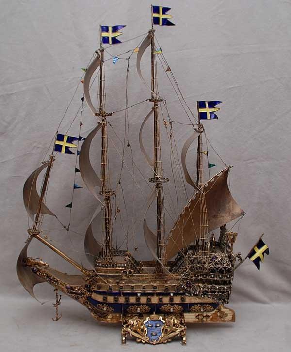 "137: SWEDISH WASA SILVER ENAMEL & JEWELED SHIP ""925"""