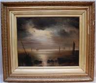 165 TH Weber 19th Century British Moonlite Seascape